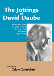 cover for The Jottings of David Daube: edited by Calum Carmichael