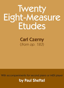 cover art of Carl Czerny's Twenty Eight-Measure Etudes; MINI player by Paul Sheftel